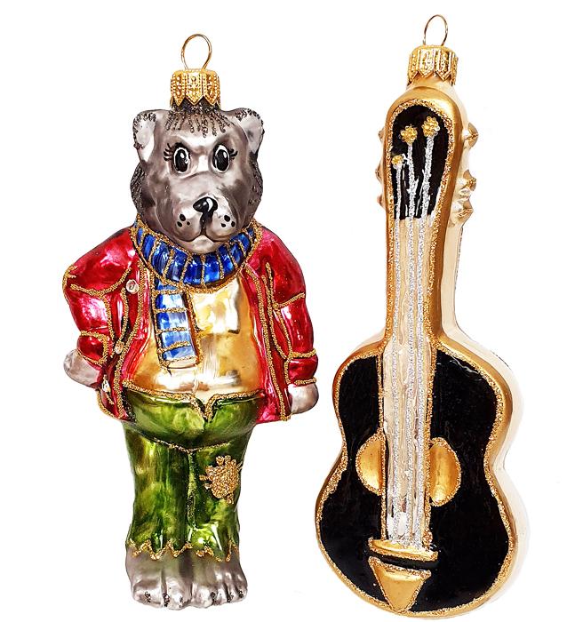 Стеклянная ёлочная игрушка «Волк с гитарой» — купить в ...